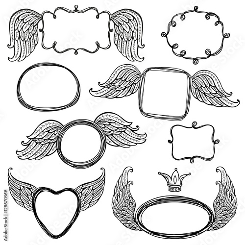 Network templates frames for text or photo. Angel wings\