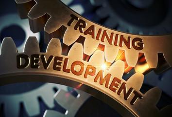Training Development on Golden Cog Gears. 3D Illustration.