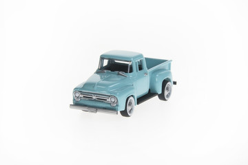 Green Toy Pickup on White Background