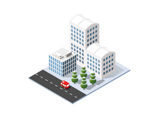 Isometric set 3D city three-dimensional winter town quarter. Skyscrapers, apartment, office, houses and streets with urban traffic movement of the car with trees and nature