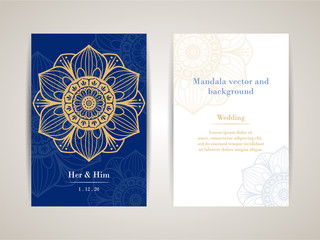 Mandala vector and background Wedding cards / Make clipping mask and Gradient