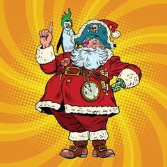 Santa Claus pirate penguin pointing gesture