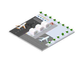 Isometric 3D airstrip of the city international airport terminal and the plane transportation and airplane runway, aircraft jet. Urban transport and building construction. Roads, trees and paths.
