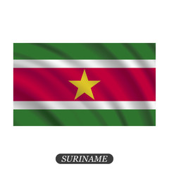 Waving Suriname flag on a white background. Vector illustration