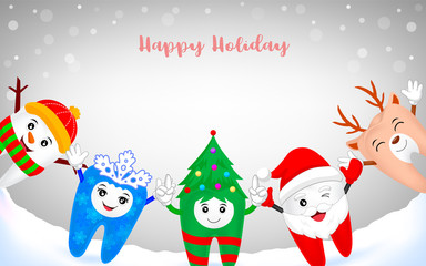Cute cartoon tooth character in winter background. Santa claus, Christmas tree, Snowman, snowflake and deer illustration.