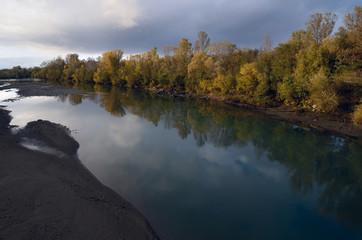White River in the Caucasus in the evening autumn