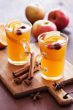 hot apple orange cider with cinnamon spice warming drink