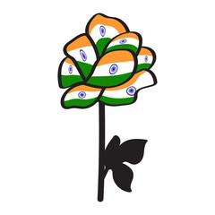 Rose with flag of India. Isolated background
