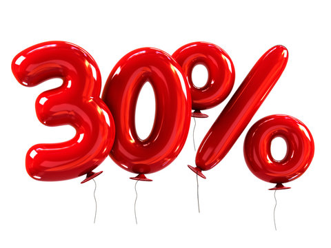 30% made of Red Helium Balloons. Discount Concept. 3d rendering isolated on white.