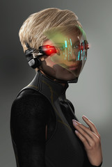 Woman with Futuristic HUD Display Visor
