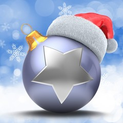 3d illustration of violet Christmas ball over winter background with silver star and Christmas hat