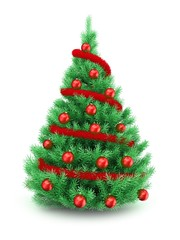 3d illustration of Christmas tree over white background with red tinsel and red balls