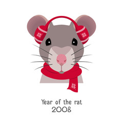 Vector rat head in red headphones, new year christmas scarf