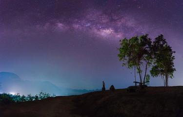 The milky way in night sky.