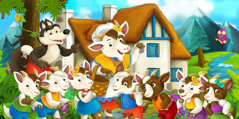 Cartoon scene with goat and wolf near village house - illustration for children