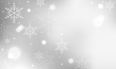 Winter banner with snowflakes and blurred circles.