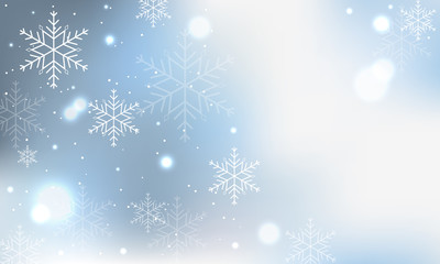 Winter blue banner with snowflakes and blurred circles.