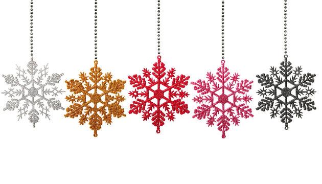 Christmas snowflakes on white