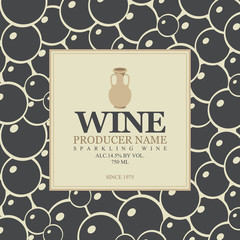 wine label with a clay jug in bunch of grapes background