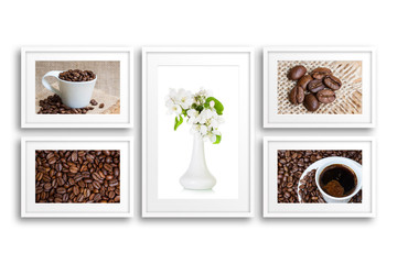 Collage of frames with coffee motif posters and vase with flowers. Interior decoration