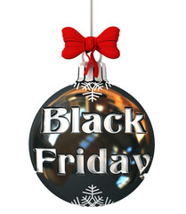 Black Friday Sale Concept on Christmas Ball with Red Bow. 3d rendering Isolated on White Background