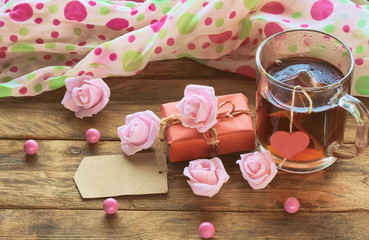 valentine's day composition, cup tea, retro toned image