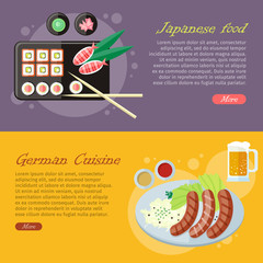 National Cuisine Flat Vector Web Banners Set