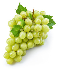 Green grape with leaves. Bunch of fresh berries isolated on whit