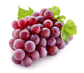 Fototapete - Ripe red grape with leaves isolated on white. With clipping path