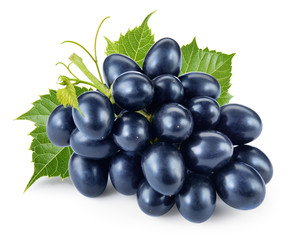Fototapete - Dark blue grape with leaves isolated on white background. With c
