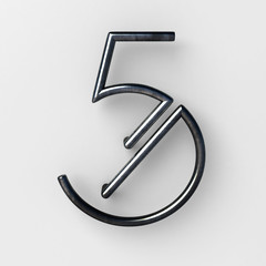 3d realistic Wire Font with shiny reflection and soft shadows. Number Five, 5. 3d rendering isolated.