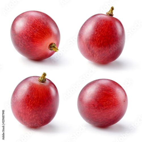 Fototapete Ripe red grape isolated on white. Collection. Full depth of fiel