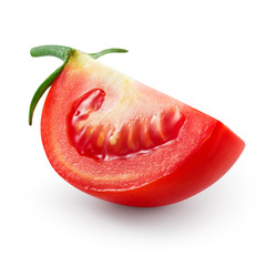 Tomato. Fresh slice of vegetable isolated on white. With clippin