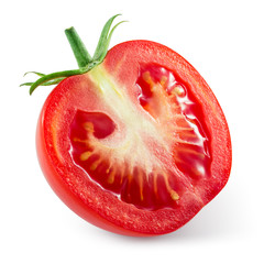 Fresh tomato. Half of vegetable isolated on white. With clipping
