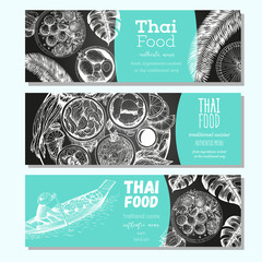 Asian food banner set. Asian food horizontal banner collection. Thai food menu restaurant. Thai food sketch menu. Linear graphic