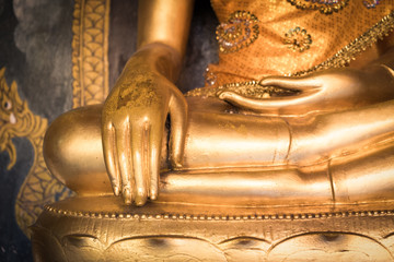 close up golden monk hand image of Buddha means meditation