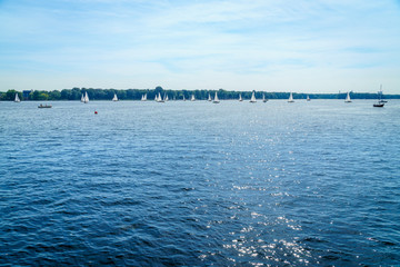 Boats sailing in the European summer