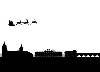 Santa Claus flying over Salamanca