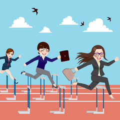 Small group of businesswomen competition concept jumping hurdles on business competitive career