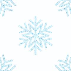 Blue snowflake seamless background.