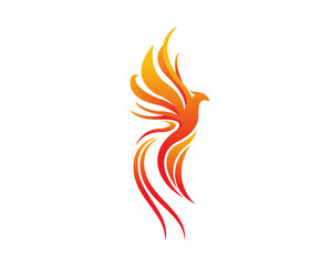 Modern Bird Logo - Flaming Phoenix Symbol