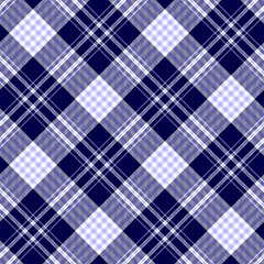 Seamless nautical style tartan plaid pattern. Checkered fabric texture print in pale blue & white stripes on dark navy blue background.