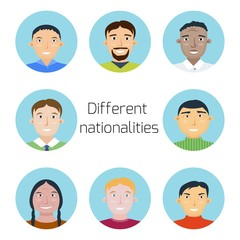 Set of people of different nationalities. Group of men, Chinese and Japanese, Korean and African, Indian and European