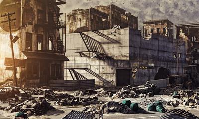 ruins of a city. 3D concept