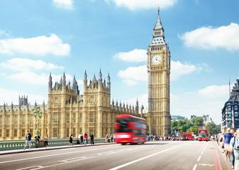 Autocollant pour porte Londres bus rouge Westminster Bridge, London, UK