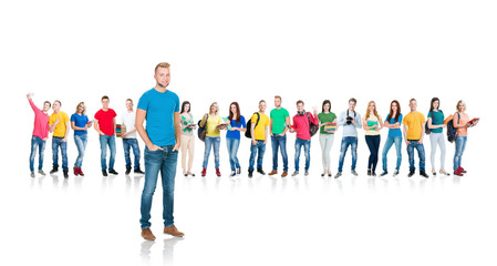 Group of teenage students isolated on white