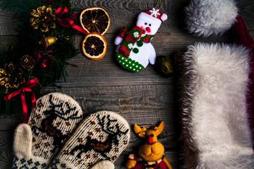 Santas hat, Christmas set, gift and Christmas tree. Celebration