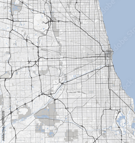 Map Chicago city Illinois Roads Stock image and royaltyfree