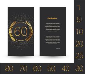 Anniversary 5th, 10th, 25th, 20th, 30th, 40th, 50th, 60th, 70th, 80th invitation/congratulation card.