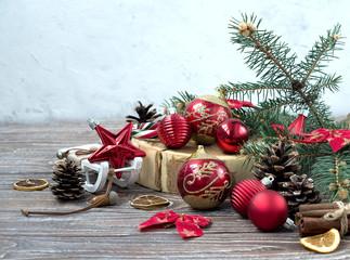 Christmas arrangement of Christmas toys